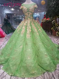 $enCountryForm.capitalKeyWord NZ - AXJFU Luxury princess green lace wedding dress o neck golden beading green flower lace wedding dress 100% real photo 599