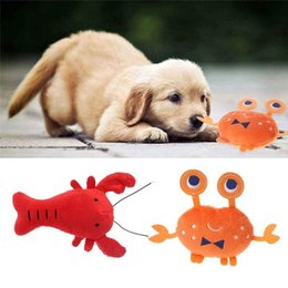 lobster toy wholesale UK - Soft Plush Dog Toys Cartoon Lobster Crab Dog Squeaky Toys Interactive Pet Puppy Toys For Small Medium Dogs Honden Knuffel Dog Training & Obe