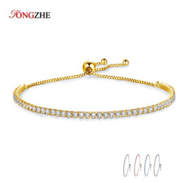silver cz tennis bracelet 2019 - KALETINE Charms Bracelets For Women 925 Sterling Silver Blue Pink White CZ Tennis Beads Link Rose Gold Luxury Mens Jewel