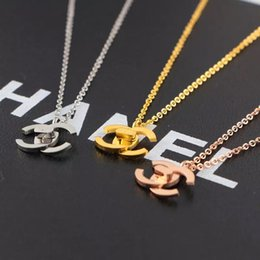 Wholesale Top deluxe classic Brand Designer silver letter necklace Jewelry gold rose colors pendant for girls Women Wedding Gift