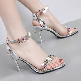 $enCountryForm.capitalKeyWord NZ - Sexy bridal wedding shoes luxury sandals summer slides silver small flower ankle strap high heels 9cm white pink size 34 To 40