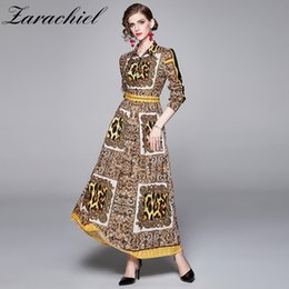vintage button down shirts women Canada - Vintage Pattern Leopard Print Maxi Dress Women Boho Long Sleeve Lapel Long Dress Female Turn Down Collar Casual Shirt Dresses