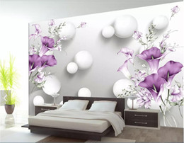 Calla Lily Paintings Australia - 3d room wallpaper custom photo non-woven mural Hand painted purple calla lily beautiful fresh 3D background wall wallpaper for walls 3 d