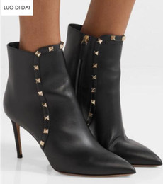 Spike Stud Boots Australia - 2019 fashion women spike stud boots thin heel gold rivets women ankle booties pointed toe boots ladies party shoes mujer botas