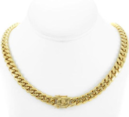"$enCountryForm.capitalKeyWord Australia - Men's Cuban Miami Link 22"" Choker Chain Real 18k Gold Over Stainless Steel 10mm"