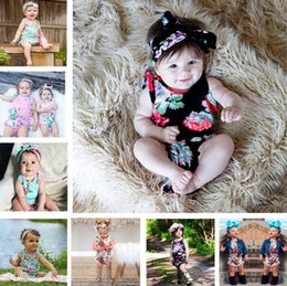 girls wholesale boutique outfits Canada - Newborn girl clothes summer flower romper jumpsuit onesies With Headband kid clothing boutique outfits babies girls toddler 0-24M BY1116