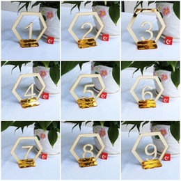 $enCountryForm.capitalKeyWord UK - Originality 1-30 Place Holder Acrylic Mirror Surface Table Number Signs Hexagon Shape Seat Card For Wedding Birthday Party Decoration2 8xtE1