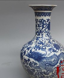 CeramiC art vases online shopping - Antique porcelain collection Jingdezhen ceramic blue and white vase blue and white dragon in the sky long bottle home decoration props