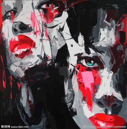 $enCountryForm.capitalKeyWord Australia - Hand painted Palette knife painting portrait Palette knife Francoise Nielly Face Abstract Oil painting Impasto figure on canvas Decor FN121