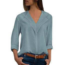 $enCountryForm.capitalKeyWord Australia - Plus size 5XL Sexy V Neck 2018 Women Blouses Solid White Chiffon Shirts Lady Long Sleeve Fashion Blouses Shirt Beach Tops Blusas