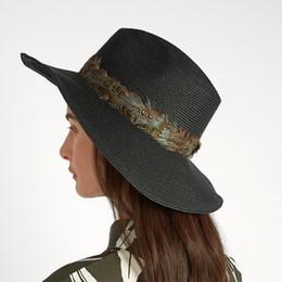 7cd80dd9caf Fashion Women Summer Toquilla Straw Feather Ribbon Panama Sun Hat For  Elegant Lady Wide Brim Floppy Fedora Sunbonnet Beach Cap