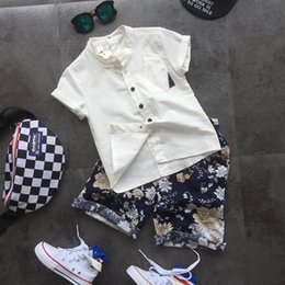 Floral Print Shirts Baby Australia - 2pcs boys fashion clothing set kids summer white shirt and floral printed short set baby casual all match clothes children 2-7T