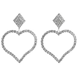 $enCountryForm.capitalKeyWord NZ - KMVEXO Shiny Rhinestone Big Heart Drop Dangle Earrings for Women Jewelry Square Maxi Statement Earring Party Wedding Accessories