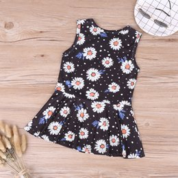 Wholesale Baby Girl Clothes Sleeveless Black Baby Sunflower Dot Vest Princess Dress Floral Summer Children Party Kids Dresses For Girls