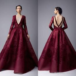 Cheap stunning evening dresses online shopping - Stunning Arabic Formal Evening Dresses Dark Red Satin V Neck Lace Appliqued Plus Size Prom Party Gowns Vestidos De Novia Cheap