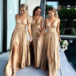 3212bfe3ff3 2019 Sexy Long Gold Bridesmaid Dresses Deep V Neck Empire Split Side Floor  Length Champagne Beach Boho Wedding Guest Dresses