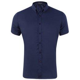 Solid Black Shirt For Men Australia - Men's Casual Dress Short Sleeved Shirt Solid White Blue Pink Black Male Slim Fit Shirt For Men Social Shirts
