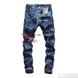 Chinese  Men's jeans Bottoms Tooling denim 2019 new products Slim fit Individuality hole comfortable design Blue printc manufacturers