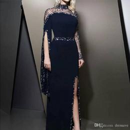 Robes Red caRpet online shopping - 2020 Vintage High Neck Navy Blue Evening Dresses kaftan Dubai Beaded Long Sleeve Party Gowns Modest robe de soiree Split Prom Dress
