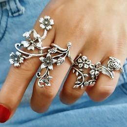 $enCountryForm.capitalKeyWord Australia - 4PCS Vintage Knuckle Ring For Women Charming Turkish Big Rose Flower Leaf Midi Finger Ring Set Boho Punk Bohemia Antique Jewelry Party Queen