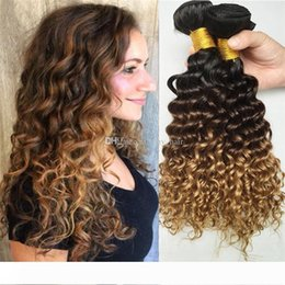 honey blonde virgin curly hair UK - 3 Tone Ombre Indian Deep Wave Hair Bundles 1B 4 27 Honey Blonde Ombre Deep Curly Virgin Human Hair Weft 8A Three Tone