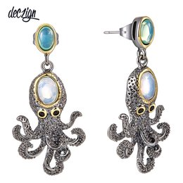Octopus Earrings Australia - Deczign New Super! New Arrived Funny Octopus Drop Earrings for Women Cute Best Party Jewelry Simulated Opal Stones WE3875