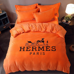 3d bedding set horses Australia - 3D Print Orange Bed Cover Soft Crystal Velvet Horse Pattern New High Performance Cost Ratio Fashion Bedding Sets 4PCS