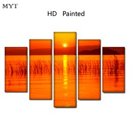 $enCountryForm.capitalKeyWord Australia - Free shipping HD Printed 5 Pieces High Quality Large size Canvas painting sunset on the sea scenery Wall Arts pictures Home Decor