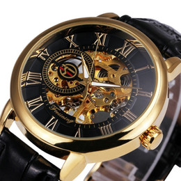 hollow man glasses UK - Forsining 3d Logo Design Hollow Engraving Black Gold Case Skeleton Mechanical Men Watches Heren Leather Strap Heren Horloge J190614