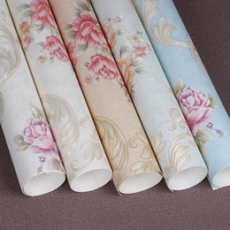 China 3D European garden flower warm peony pvc wallpaper romantic European wedding room background wall living room bedroom decoration cheap peony flowers wallpaper suppliers