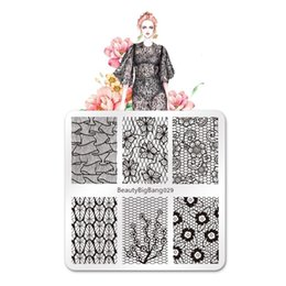 $enCountryForm.capitalKeyWord Australia - 6*6 Cm Nail Stamping plates Stainless Steel Square Shape Lace Flower Theme Image Stamping Template Plate Nail Art For BBB 029