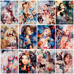 AZQSD DIY Animal Girls Arcylic Painting By Numbers On Canvas Unframed Wall Figure Pictures Art For Living Room Home Decoration on Sale