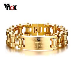 gold bicycle charm NZ - Vnox 17.5mm Wide Heavy Men's Bible Cross Bike Chain Bracelet Gold Tone Stainless Steel Motorcycle Bicycle Braslet Male Jewelry J190703