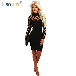 7bafa5bb725 Haoyuan New Arrival Sexy Bandage Dress Women Summer Hollow Out Party Night Club  Dress Long Sleeve Bodycon Dresses Vestidos Robe Y19051001