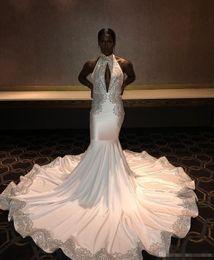 $enCountryForm.capitalKeyWord Australia - 2019 White Long Black Girls Prom Dress Mermaid Appliques Formal Pageant Holidays Wear Graduation Evening Party Gown Custom Made Plus Size