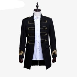 Hommes à double boutonnage Angleterre Style Long Slim Fit Blazer Conception Wedding Groom Suit Jacket Mens Stage Wear Costume Chanteur