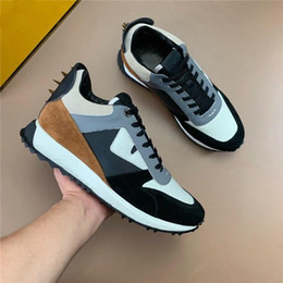 $enCountryForm.capitalKeyWord NZ - Classic Mens Sneakers with Studs Spikes, BAG BUGS EYES SNEAKER Trainers with Black and Yellow Leather in lace-up designer shoes with Box Siz