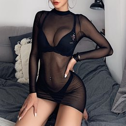nightclub dresses sale UK - hot sale women sheer mesh see through long sleeve crop tops casual fashion sexy black nightclub party dance dress
