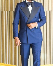 Smoking da uomo formale da uomo di alta qualità Made 2019 New Midnight Blue Double Breath con visiera a risvolto Bridegroom Mens Best Mens Wedding Suit
