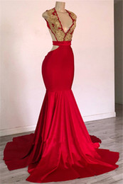 red open back dresses NZ - Sexy Red Mermaid Sleeveless V-Neck Open-Back Prom Dresses New Designer African Evening Dress Party Gowns Formal Dresses robe de soiree