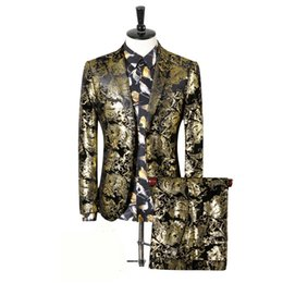 gold fashion men suit Australia - fashion party plus size gold men suit set hight quality male evening dress clothing