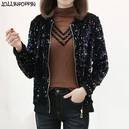 Wholesale colorful bomber jacket for sale – winter Women Sequin Bomber Jacket Stand Collar Bling Colorful Paillette Coat All Over Sequinned Zip Up Jackets