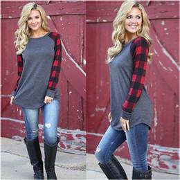 Wholesale oversized long t shirt women for sale – custom S XL Plaid Panel Raglan Women T Shirt Long Sleeve Patchwork Blouse T shirt Spring Autumn Pullover Oversized Shirts Tops Ladies Top Clothing