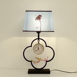 $enCountryForm.capitalKeyWord Australia - 2019 New Chinese bedside table lamp bedroom modern minimalist wrought iron study hotel wall clock LED table lamp Desk light