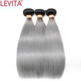 Discount ombre gray hair - LEVITA #T1B GRAY Straight Human Hair Weaves Peruvian Malaysian Brazilian Virgin Hair 2 Tone Color 3 Bundles 12-18 Inch H