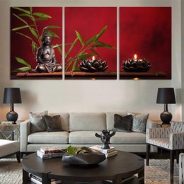 Discount large buddha canvas prints 3 Pcs Large Buddha Bamboo Landscape HD Printed Canvas Prints Painting Wall Pictures For Living Room Wall Art No Frame