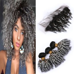 Discount gray curly weave - Aunty Funmi Curly Ombre Grey Hair Bundles with Frontal Lace Closure 1B Grey Ombre Spiral Curly Human Hair Weaves with Gr