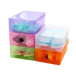 Folded Shoes UK - 2018 trending products thick plastic box transparent box dust-proof shoe cabinet shoe storage box drawer shoes