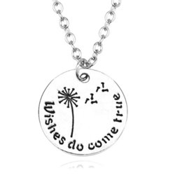 letter tags jewelry 2019 - Fashion Plant Dandelion Pendant Necklace Jewelry Personality Student Letter Round Tag Female Inspirational Blessing Jewe