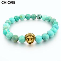 $enCountryForm.capitalKeyWord Australia - ashion Jewelry Bracelets CHICVIE Green Natural Stone Gold color Lion Strand Charm Bracelet With Stones Men Jewelry Beads Famous Brand Bra...